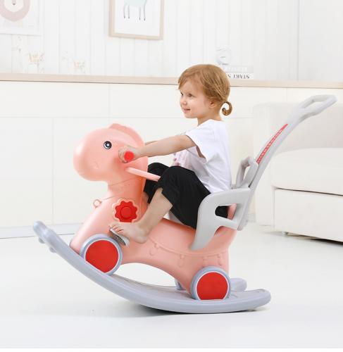 Balansoar 3 in 1 cu maner parental Nichiduta Horse Pink - Balansoare copii -