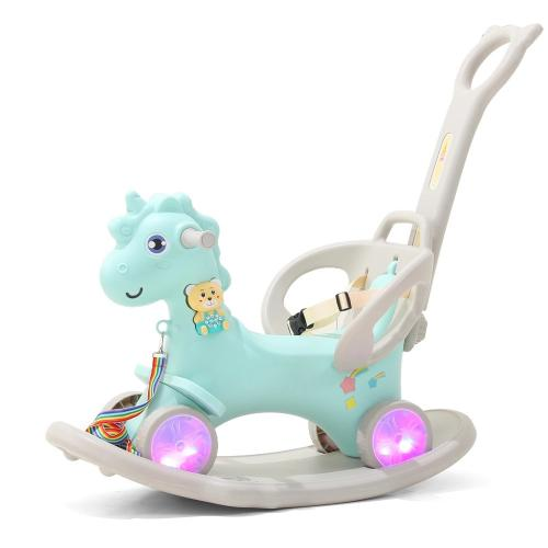 Balansoar 3 in 1 cu maner parental Nichiduta Unicorn Blue - Balansoare copii -