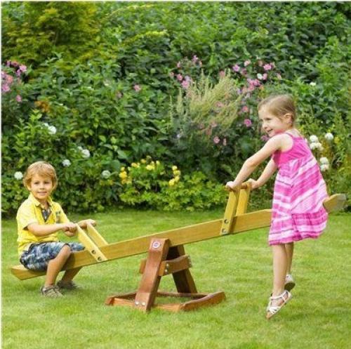 Balansoar din lemn pentru 2 copii Premium Seesaw Plum - Balansoare copii -
