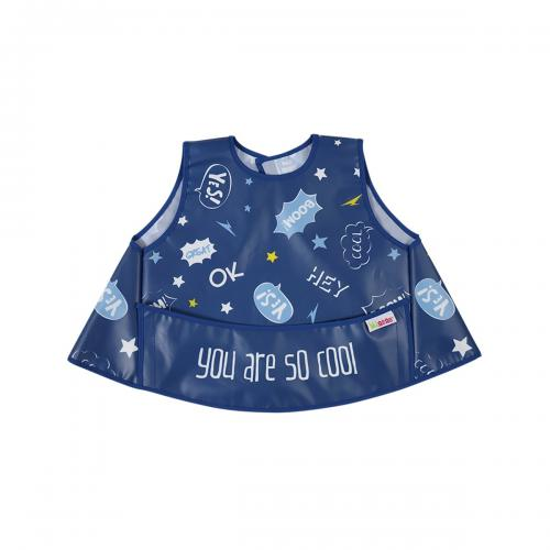 Bavetica vesta impermeabila Minene - 25 x 30 cm - Albastru - Alimentatia bebelusului - Bavete bebe