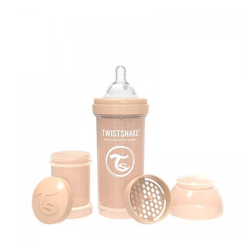 Biberon anti-colici 260 ml 2+ pastel beige Twistshake - Biberoane tetine -