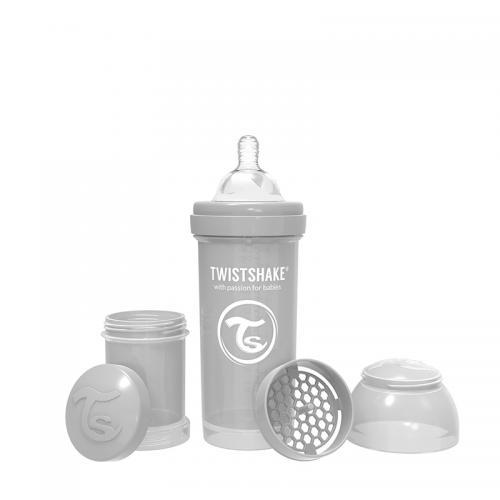 Biberon anti-colici 260 ml 2+ pastel grey Twistshake - Biberoane tetine -