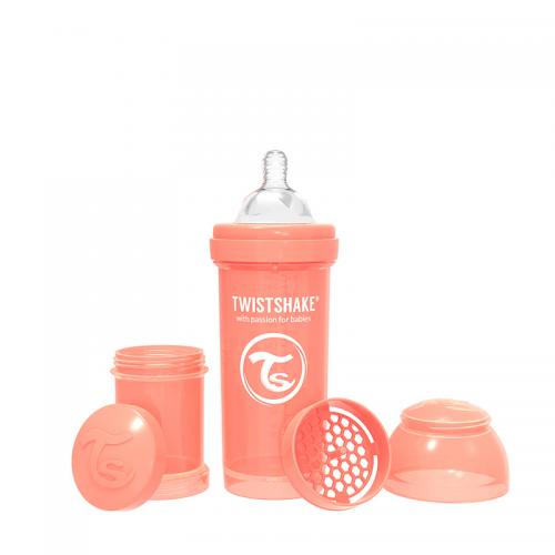 Biberon anti-colici 260 ml 2+ pastel peach Twistshake - Biberoane tetine -