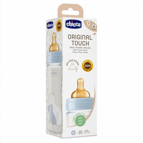 Biberon sticla Chicco Original Touch 240ml tetina cauciuc flux lent unisex 0luni+ - Biberoane tetine -