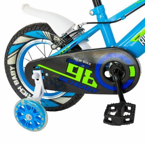 Bicicleta baieti Rich Baby R1207A roata 12 C-Brake cu cosulet si roti ajutatoare cu led 2-4 ani albastruverde - Biciclete copii  -