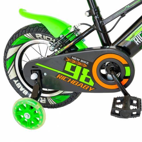 Bicicleta baieti Rich Baby R1207A roata 12 C-Brake cu cosulet si roti ajutatoare cu led 2-4 ani negruverde - Biciclete copii  -