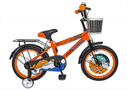 Bicicleta copii 16 Rich Baby R1601A cadru otel portocaliu negru si roti ajutatoare - Biciclete copii  -