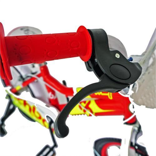 Bicicleta copii 16 Rich Baby R1602A cadru otel rosu galben si roti ajutatoare - Biciclete copii  -