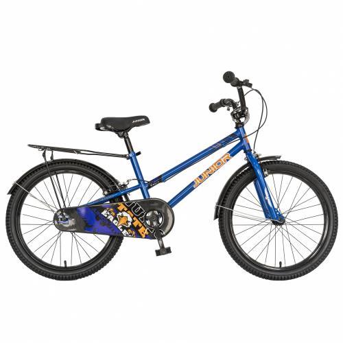 Bicicleta copii 20 Junior J2001B cadru otel si portbagaj culoare albastru negru 7-10 ani - Biciclete copii  -