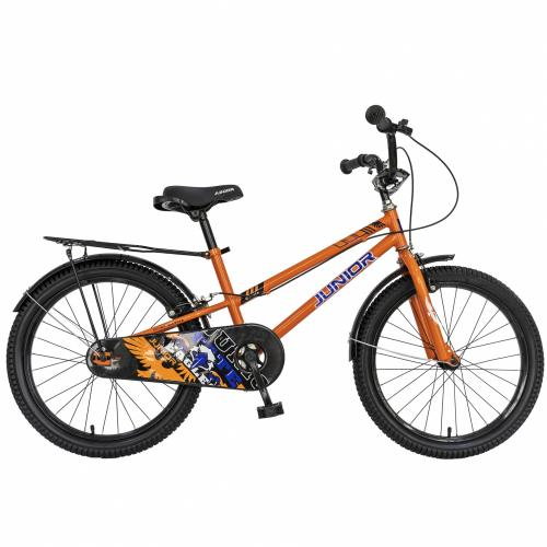Bicicleta copii 20 Junior J2001B cadru otel si portbagaj culoare portocaliu negru 7-10 ani - Biciclete copii  -