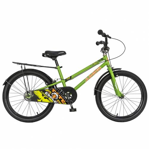 Bicicleta copii 20 Junior J2001B cadru otel si portbagaj culoare verde negru 7-10 ani - Biciclete copii  -