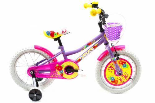 Bicicleta copii Dhs 1602 galben mov 16 inch - Biciclete copii  -