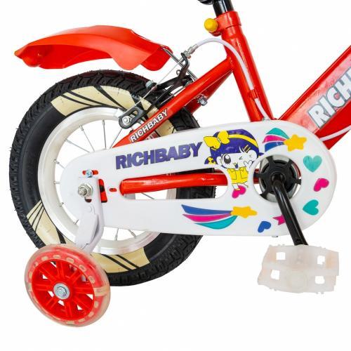 Bicicleta fete Rich Baby R1208A roata 12 C-Brake cu cosulet si roti ajutatoare cu led 2-4 ani rosualb - Biciclete copii  -