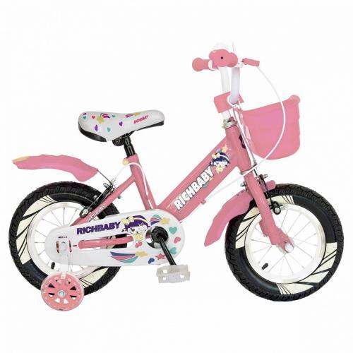 Bicicleta fete Rich Baby R1208A roata 12 C-Brake cu cosulet si roti ajutatoare cu led 2-4 ani rozalb - Biciclete copii  -