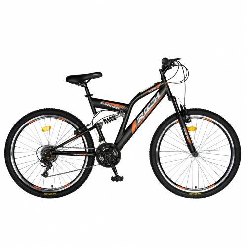Bicicleta munte dubla suspensie Rich R2449A roata 24 frana V-Brake 18 viteze negruportocaliu - Biciclete copii  -