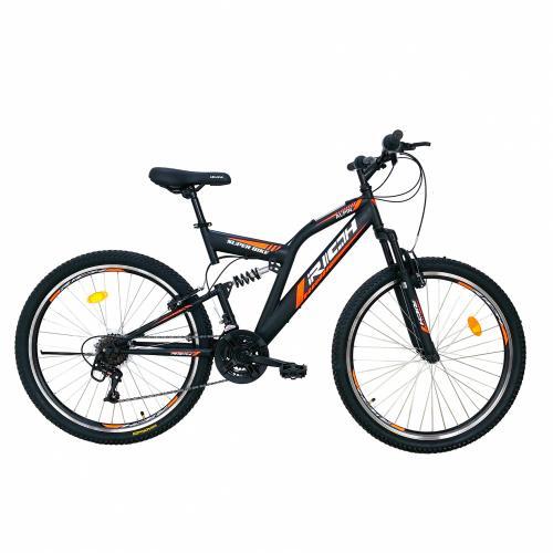 Bicicleta munte dubla suspensie Rich R2649A roata 26 frana V-Brake 18 viteze negru portocaliu - Biciclete copii  -