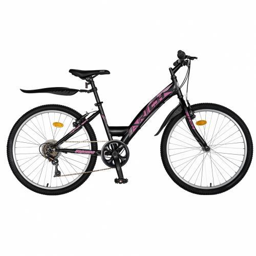 Bicicleta Trekking 24 Rich R2430A 6 viteze negrufucsia - Biciclete copii  -