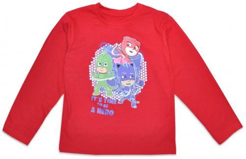 Bluza cu maneca lunga si imprimeu Pj Masks - Rosu - Imbracaminte copii - Bluze corp