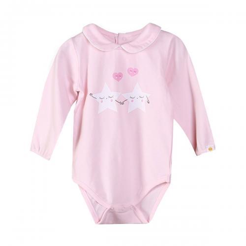 Body cu maneca lunga si imprimeu frontal Zippy - Roz - Imbracaminte copii - Body bebe