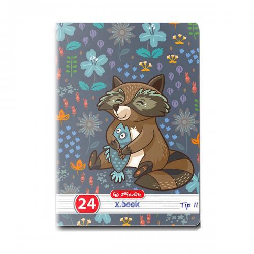 Caiet Tip 2 Herlitz - A5 - 24 file - Cute Animals Premium - Rechizite scolare -