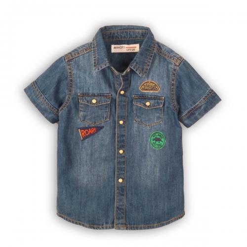 Camasa jeans cu maneca scurta Minoti Roar - Imbracaminte copii - Camasi