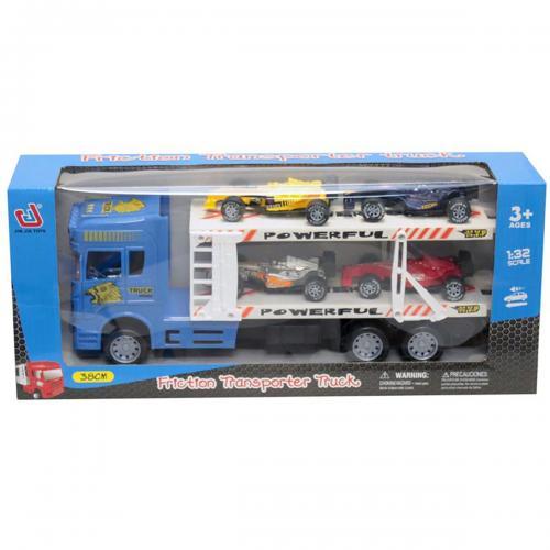 Camion cu 4 masinute Unika Toy - Albastru - Masinute copii -