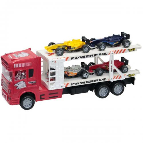 Camion cu 4 masinute Unika Toy - Rosu - Masinute copii -