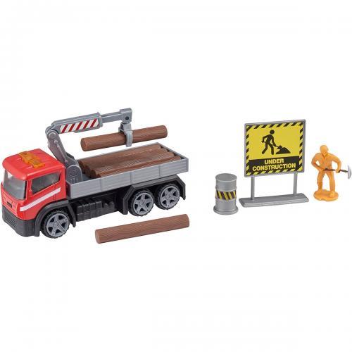 Camion cu accesorii de constructie Teamsterz - Rosu - Masinute copii -