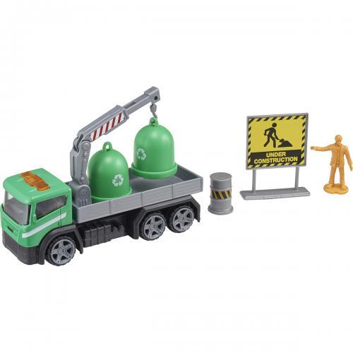 Camion cu accesorii de constructie Teamsterz - Verde - Masinute copii -