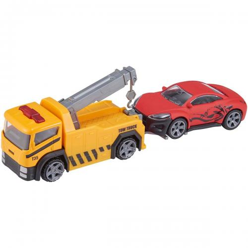 Camion de tractare cu masinuta Teamsterz - Galben - Masinute copii -