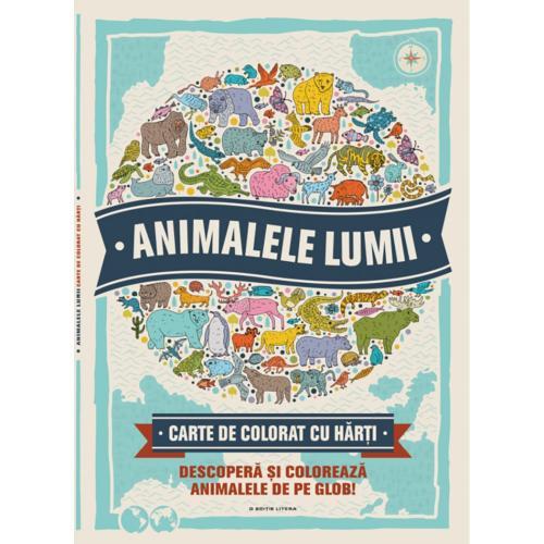 Carte de colorat cu harti Editura Litera - Animalele lumii - Carti pentru copii -
