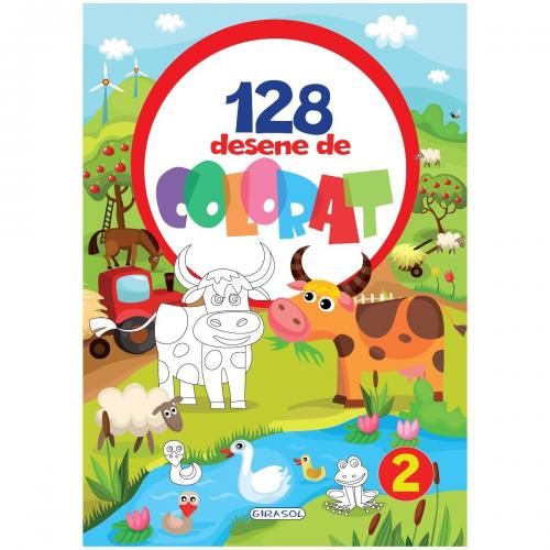 Carte de colorat Girasol - 128 Desene de colorat 2 - Carti pentru copii -