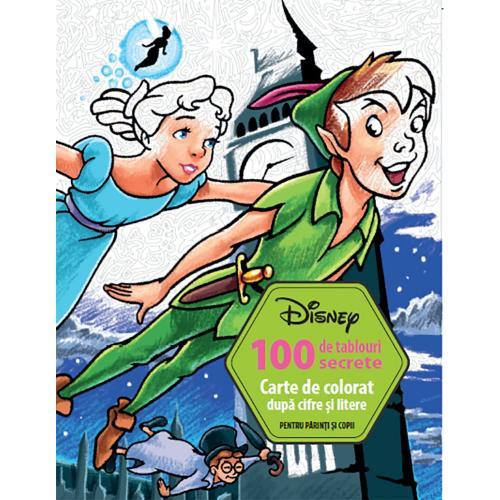 Carte Editura Litera - Disney 100 de tablouri secrete Carte de colorat dupa cifre si litere - Carti pentru copii -