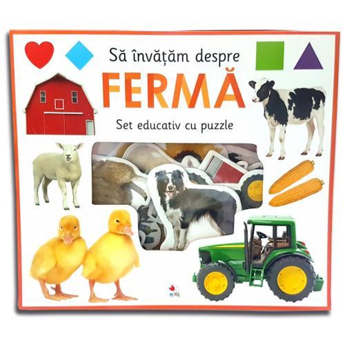 Carte Editura Litera - Sa invatam despre ferma Set educativ cu puzzle - Carti pentru copii -