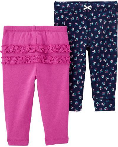 Carter's Set 2 Piese pantaloni lungi cu flori si volanase - Imbracaminte copii - Seturi pantaloni fetite
