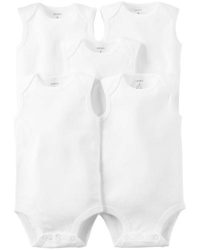 Carters Set 5 Piese body maiou alb - Imbracaminte copii - Body bebe