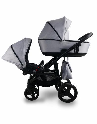 Carucior copii gemeni Tandem 2 in 1 Bexa Lux Grey - La plimbare - Carucioare gemeni