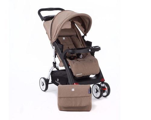 Carucior cu husa picioare si geanta mamici Airy Beige Melange - La plimbare - Carucioare standard