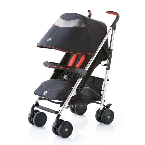 Carucior Knorr Baby Buggy Volkswagen - Negru cu Rosu - La plimbare -