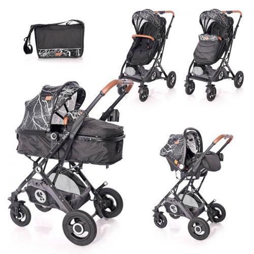 Carucior set Sena cos auto inclus cadru aluminiu pliere compacta Black Marble - La plimbare - Carucioare 3 in 1