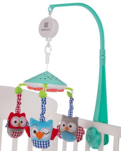 Carusel KikkaBoo Owls Green muzical cu proiectii - Camera copilului - Carusele muzicale
