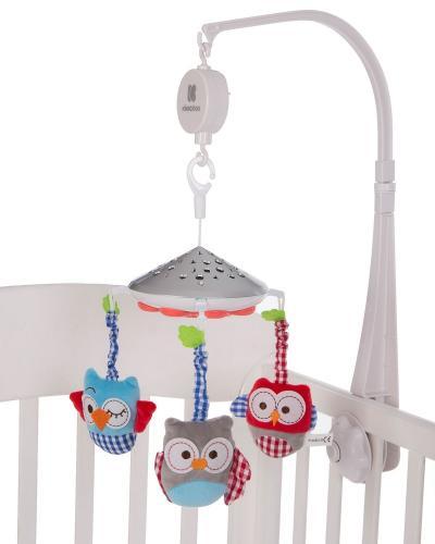 Carusel KikkaBoo Owls White muzical cu proiectii - Camera copilului - Carusele muzicale