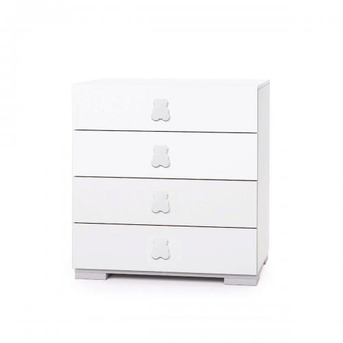 Comoda Home Concept - Alb - 4 sertare - Camera copilului - Mobila camera copii