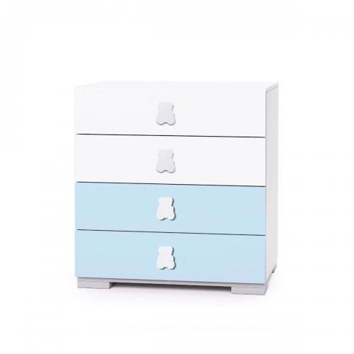 Comoda Home Concept - Bleu - 4 sertare - Camera copilului - Mobila camera copii