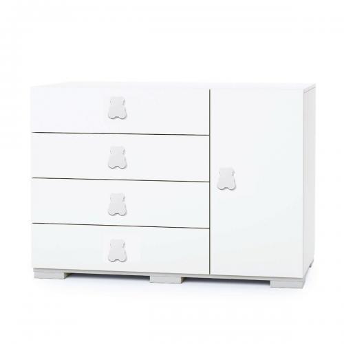 Comoda Maxi Home Concept - Alb - 4 sertare + usa - Camera copilului - Mobila camera copii