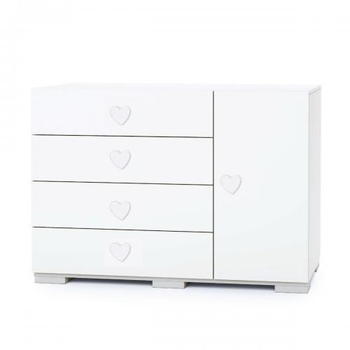 Comoda Maxi Home Concept - Alb - Inimoara - 4 sertare + usa - Camera copilului - Mobila camera copii