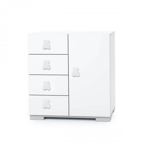 Comoda Mini Home Concept - Alb - 4 sertare + usa - Camera copilului - Mobila camera copii