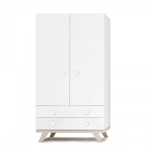 Dulap Home Concept - Alb - Inimioara - 2 sertare + 2 usi - Camera copilului - Mobila camera copii