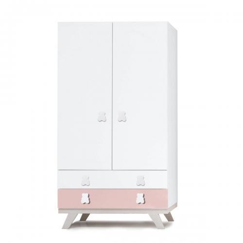 Dulap Home Concept - Roz - 2 usi + 2 sertare - Camera copilului - Mobila camera copii