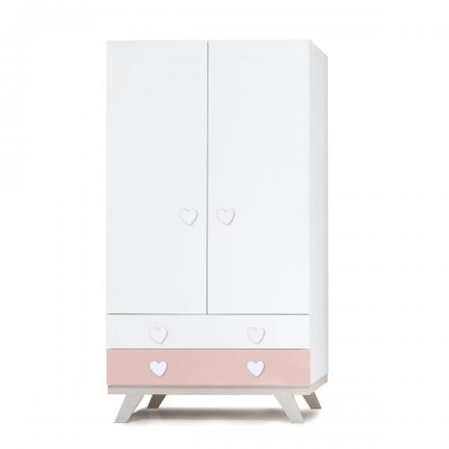 Dulap Home Concept - Roz - Inimioara - 2 sertare + 2 usi - Camera copilului - Mobila camera copii